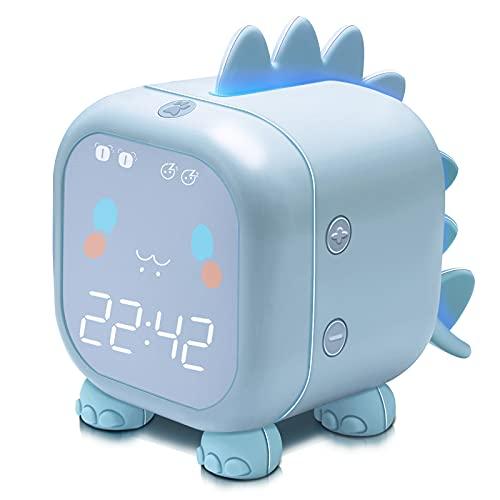 Kids Alarm Clock with Dinosaur, Digital Alarm Clock for Kids Bedroom, Cute Bedside Clock Children's Sleep Trainier, Wake Up Light and Night Light with USB for Boys Girls Birthday Gifts. (Blue)