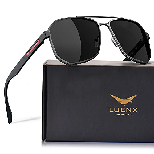 LUENX Aviator Sunglasses for Men Square Polarized Polygon Lens - UV 400 Protection with Accessories