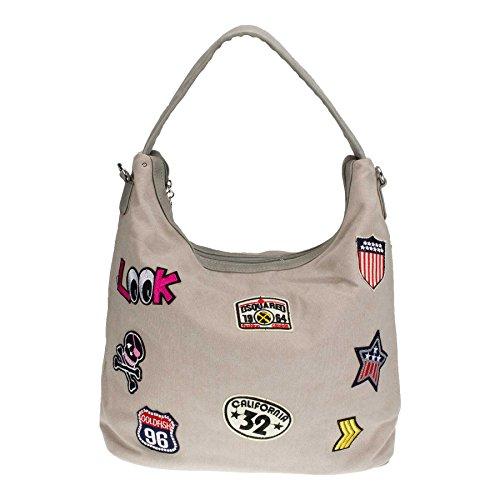 ROSENROT LOOK - Trendy Shopper - mit coolen Patches - Canvas/Lederoptik - incl. Schultergurt - Maße 40x30x15cm