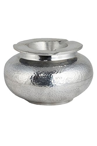 MAADES Aschenbecher für draußen mit Deckel Madrigal gehämmert Silber 13cm Groß | Mediterraner Windaschenbecher aus Aluminium Recycling | Metall Sturmaschenbecher als Geschirr & Dekoration