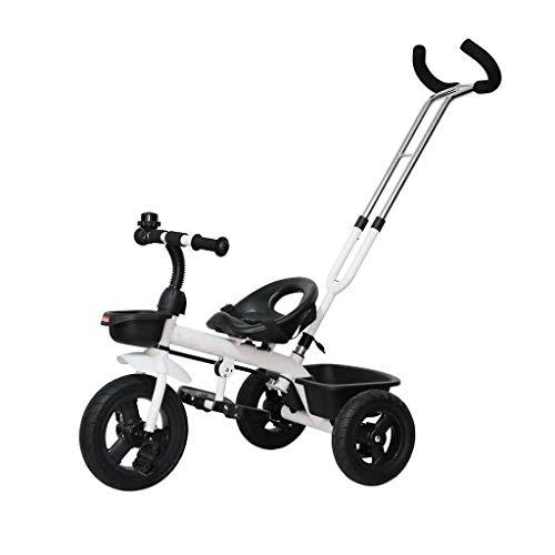 CAIMEI Cochecito Triciclo para Niños de 18 Meses a 6 Años Empujar el Paseo de Doble Uso Pedal Trike Bicicleta Desmontable Empujar el Cochecito (Color: Blanco),Blanco