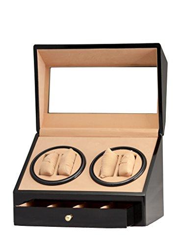 Brand New 4+4 Automatic Rotation Black Wood Quad Watch Winder Storage Display Case Box Organizers With Drawer