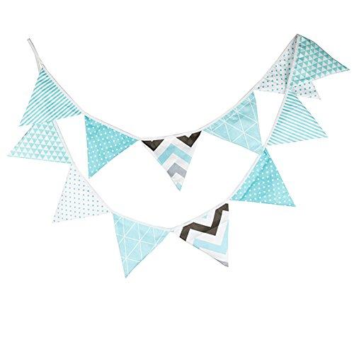 Cdet Bandera Bunting Banner decoración del cumpleaños de los niños Bandera del triángulo algodón Partido niños decoración de la casa de la casa Azul
