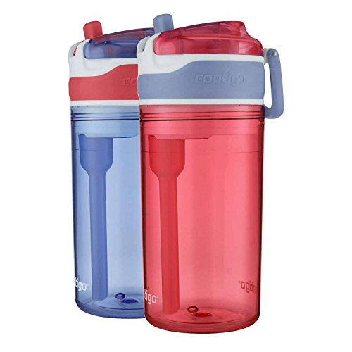 Contigo Snack Hero Water Bottle Set, 2-in-1 Water Bottle with 4oz Snack Compartment & 13oz Spill-Proof Water Bottle - Red & Blue