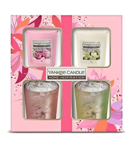 Yankee Candle Geschenk-Set, 2 Kerzenhalter und 2 Votivkerzen