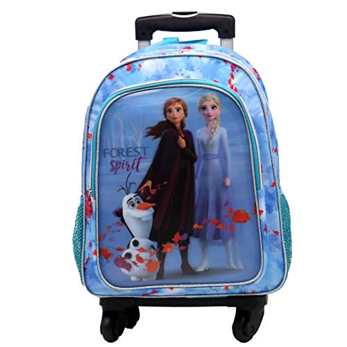 Frozen 2 Film Vision 5D Effect Backpack with 4 Multi-Directional Swivel Wheels Trolley with Pocket