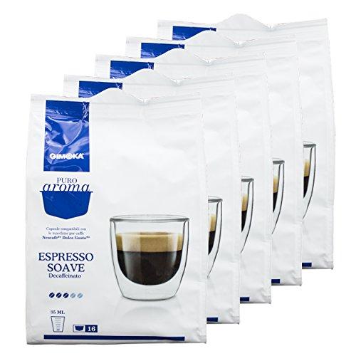 Gimoka Puro Aroma Espresso Soave Dec, per Macchine Dolce Gusto, 5 x 16 Capsule