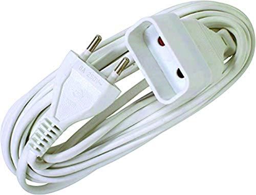 Voltman DIO013123 - Cable alargador eléctrico con 4 enchufes y alargador de película Ho3Vvh2F (2 x 0,75 mm, 2 m), color blanco