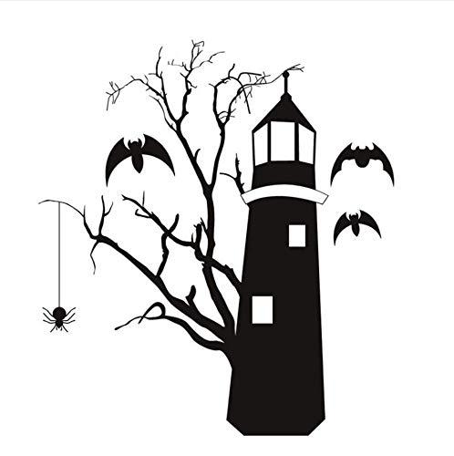 Murciélagos Que Salen Volando Del Faro Horrible Etiqueta De La Pared Rama De Árbol Araña Colgante Vinilo Extraíble Diy Tatuajes De Pared Decoración Para El Hogar 44X48Cm