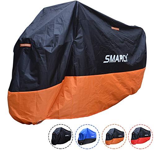 SMARCY® Motorradabdeckplane Motorradgarage Motorradabdeckung Wasserdicht Staubdicht Schwarz Orange XXXL