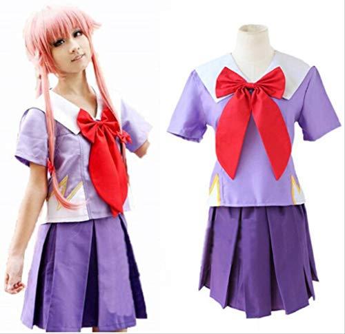 WSJDE Anime Das zukünftige Tagebuch Heldin Gasai Yuno Cosplay Kostüm Mirai NikkiSchuluniform Full Set Kleid XL