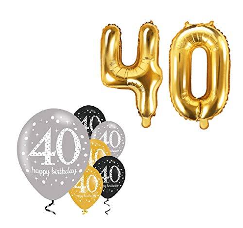 Feste Feiern Party-Deko zum 40. Geburtstag 8 Teile Set Zahlenballon Luftballon Folie Zahl 40 Gold Schwarz Silber metallic Dekoration Happy Birthday 40