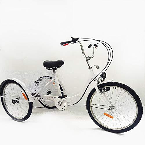SHIOUCY tricicli Adulti velocità Bicicletta 3 Ruote Adulti con Cestino di acquisto con Faro della Bicicletta Bike, DHL (Bianco)