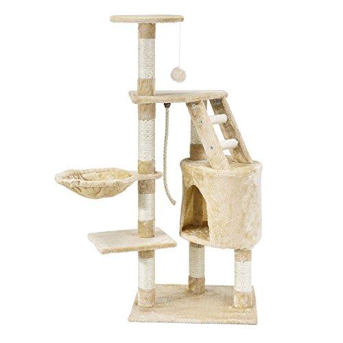 Kratzbaum Buffy beige – Katzenbaum 118 cm hoch - Höhle, Liegemulde, Liegeflächen, Leiter & Sisal-Stämme - Stabiler Kletterbaum für Katzen