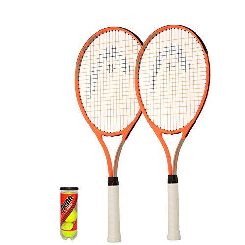 HEAD Radical Lot de 2 raquettes de tennis pour adulte 68,6 cm + housses de protection complètes et 3 balles de tennis (taille unique)