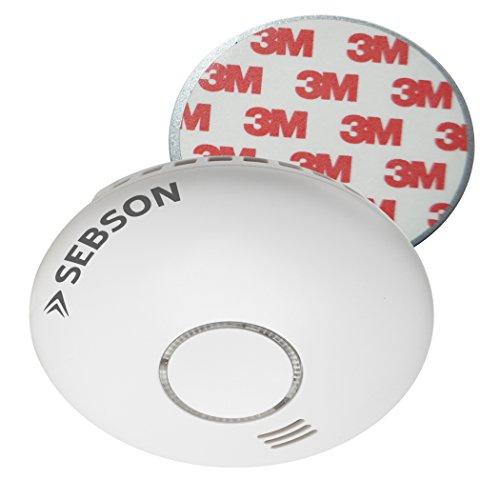 SEBSON Rauchwarnmelder Funk mit Hitzewarnmelder, DIN EN 14604 Zertifiziert, fotoelektrischer Rauchmelder vernetzbar, inkl. Magnetbefestigung