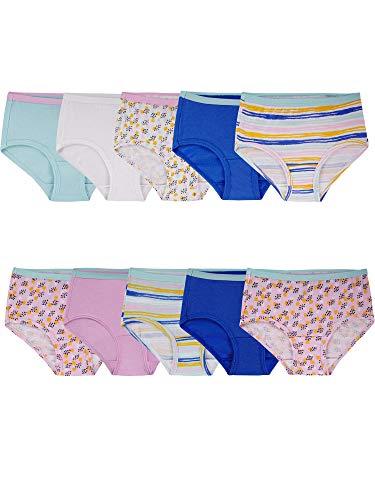 Fruit of the Loom Girls' Big Cotton Brief Underwear, 10 Pack - Fashion Assorted, 8