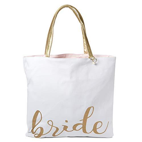 """Tri-Coastal Design – Borsa in Tela Double Face con Scritta """"Mrs.""""/""""Bride"""" con Manici in Vinile Color Oro e Portachiavi a Forma di Anello Nuziale"""