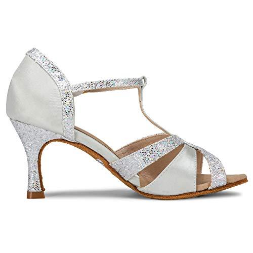 JIA JIA 20519 Damen Sandalen Ausgestelltes Heel Super-Satin Latein Tanzschuhe Silber, 38 - 5