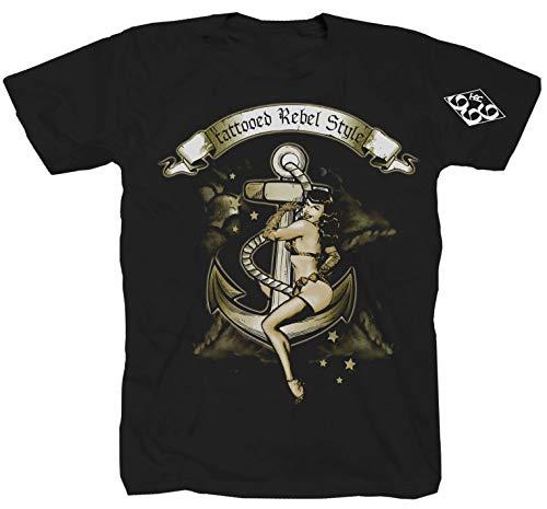 Tattooed Rebel anker inkt tatoeëren rok punk zwart T-shirt