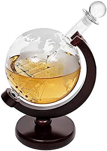 HAITRAL Globe decanter - Supporto per piastre in fibra di vetro, realizzato a mano con nave di vetro fatta a mano, per whisky, decanter alcol, per liquori, grappa, 1000 ml