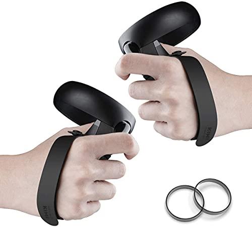 [Versão mais recente] Projeto KIWI Knuckle Strap para Oculus Quest/Oculus Rift S Touch Controller Grip Acessórios com pulseira ajustável (preta, 1 par)
