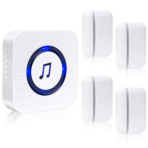 SanJie Wireless Door Open Chime Entry Alert Chimes Door Sensor Alarm For Business Home Store 55 Ringtones 5 Adjustable Volume 2 Receiver 4 Magnetic Door Chime Sensors(White)