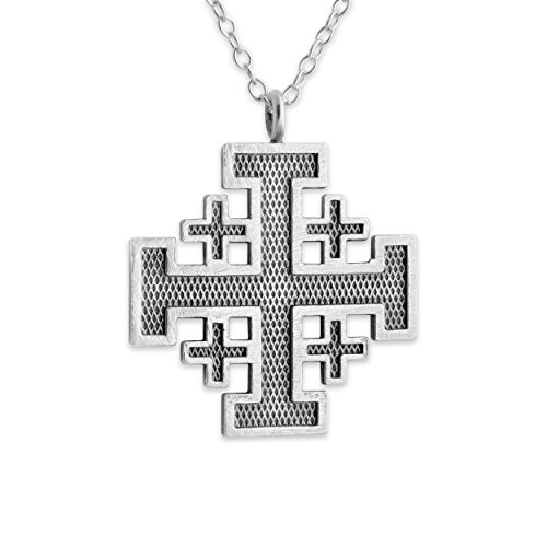 Belcho USA 925 Sterling Silver Outlined Jerusalem Crusaders Cross Necklace (22 Inches)