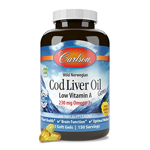 fish liver oils Carlson - Cod Liver Oil Gems, Low Vitamin A, 230 mg Omega-3s, Heart Health, Vision Support, Joint Health, Lemon, 300 Softgels