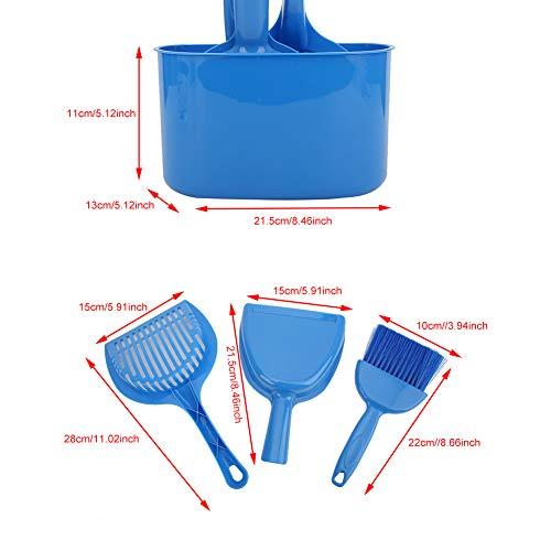 Jiawu Kit de Limpieza de Inodoro para Gatos, 4 Piezas, Kit de Pala portátil para Arena para Gatos, plástico para Perro y Gato(Juego de 4 Piezas)