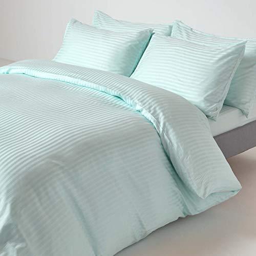 Homescapes 3-teiliges Bettwäsche-Set, Bettbezug 260 x 220 cm mit 2 Kissenbezügen 48 x 74 cm, 100% ägyptische Baumwolle mit Satin-Streifen, Fadendichte 330, blau/hellblau