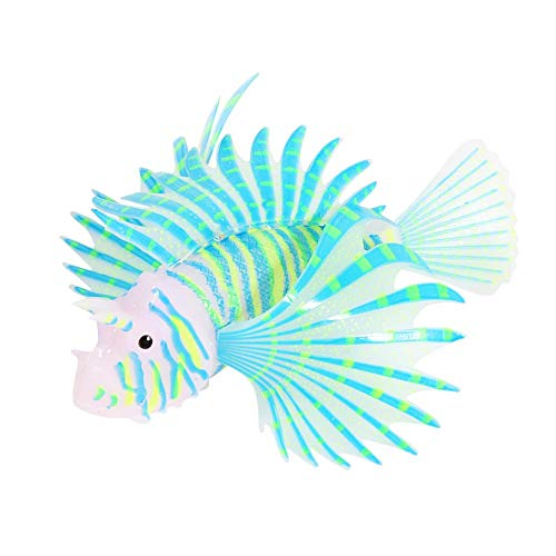 HEEPDD Artificial Glowing Lion Fish Luminous Fake Fish Aquarium Fish Tank Landscape Ornament Glow Simulation Animal Decoration(Blue)