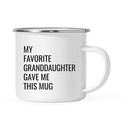 Andaz Press 11oz. Stainless Steel Funny Campfire Coffee Mug Gag Gift, My Favorite Granddaughter Gave Me This Mug, 1-Pack, Grandpa Grandma Birthday Christmas Sarcastic Humor Metal Camping Cup Gift