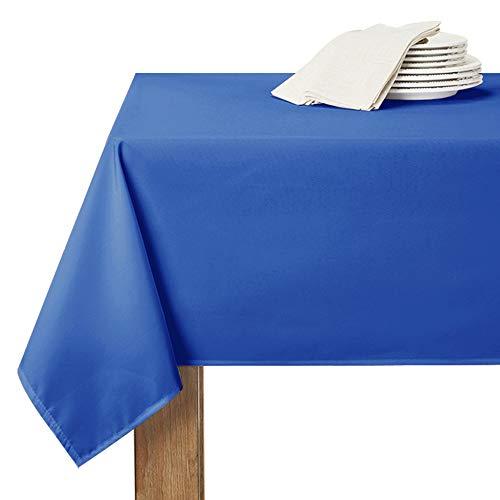 RYB HOME Manteles de Mesa Rectangular de Efecto Lino, 150 x 213 cm, Azul Zafiro