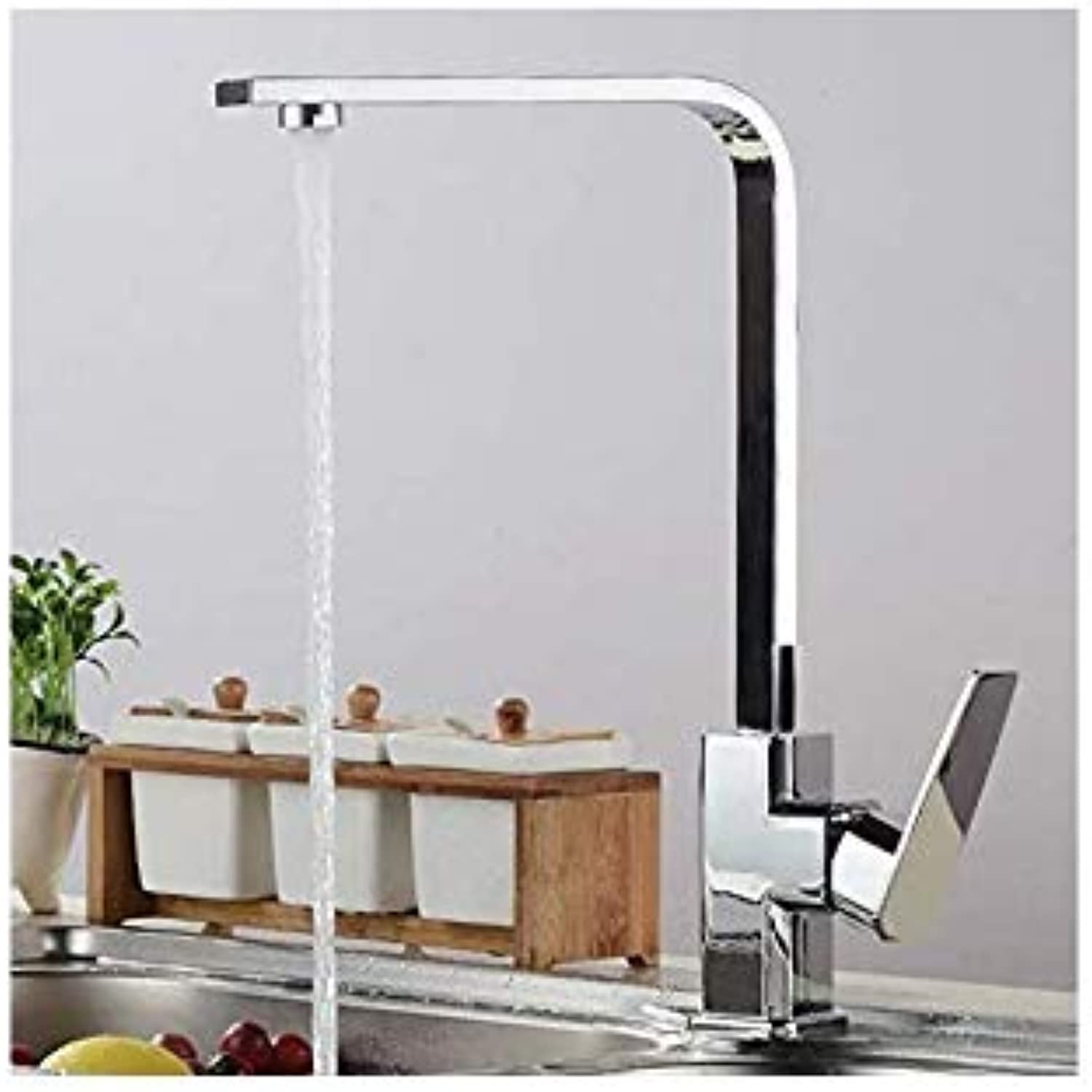 Water Tap Taps Faucet Copper Faucet Copper Hot and Cold Kitchen Faucet Brushed Hand-Turning Basin Square Faucet, Electroplating