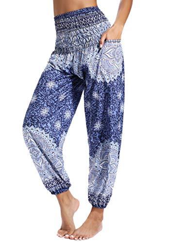 Pantalones de Yoga Mujer Harem Boho del Lazo del Pavo Real Flaral Funky #2 Flor Impresa-E