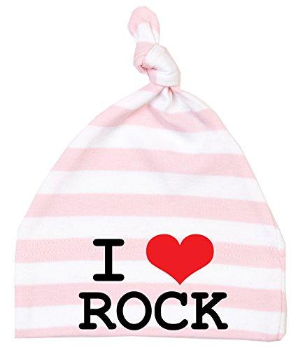 racker N Roll I Love Rock simple nœuds Bonnet rayé rose/blanc