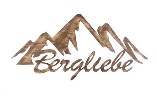 Wandbild Schriftzug Bergliebe groß 3D-Deko geflammt natur Holz Dekoartikel 110 x 54 cm Pohmer Design