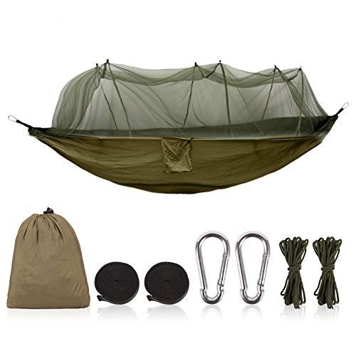 Herefun Portátil Hamaca, Doble Hamacas de Camping, Hamaca Doble e Individual con Mosquitera para Senderismo, Playa, Acampar (Verde)
