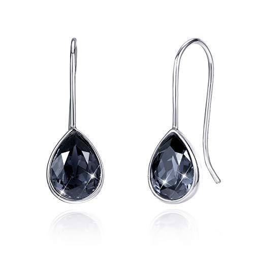 CRYSLOVE Damen Ohrhänger 925 Sterling Silber Schwarze Kristall Anhänger Ohrringe Wassertropfen Teardrop Tropfen Ohrringe hängend mit Schmuck Geschenkbox