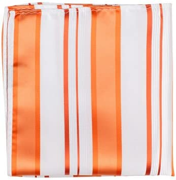 Matching Tie Guy 5340 XO11 PS - 12 x 12 in. Matching Pocket Square - White With Orange Stripes