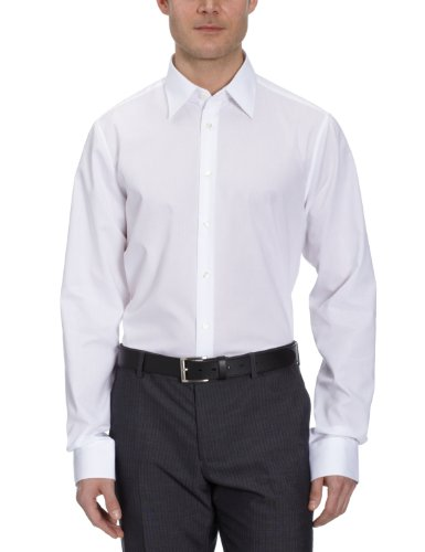 Seidensticker Herren Business Hemd Tailored Fit – Bügelfreies, schmales Hemd mit Kent-Kragen – Extra langer Arm – 100% Baumwolle, Weiß (weiß 01), 42 CM