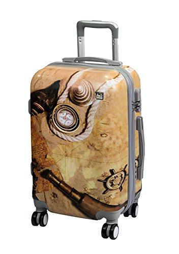 A2s Equipaje cabina maleta ligera y duradera maleta de cáscara dura con 8 ruedas giratorias llevar bolso (aviones) mapa del tesoro 55x35x20cm