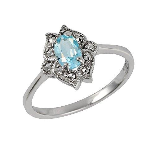 Esse Markasite Sterling-Silber 925 rhodiniert Blautopas, blau, Petite