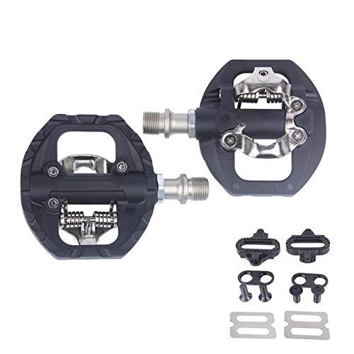 YGXICN Pedales MTB Pedal MTB Pedales Automáticos SPD Compatible MTB Bicicleta de la Fibra de Nylon + aleación de Aluminio de autobloqueo Pedales Bicicleta MontañA (Color : Black)
