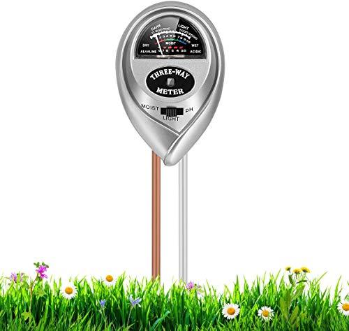 RileyKyi Soil Test Kit, 3-in-1 Soil Tester with Moisture, Soil Moisture Meter& Soil Water Monitor, Light and PH Test for Garden& Farm& Lawn& Indoor & Outdoor