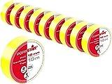 Poppstar - 10x 10m Cinta aislante universal (cinta de sellado de PVC - cinta adhesiva), para aislamiento - reparación de conductores eléctricos (18mm ancho), amarillo