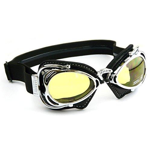 Nannini Hot rod moto occhiali in policarbonato con cornice cromata e nera in pelle–Made in Italy