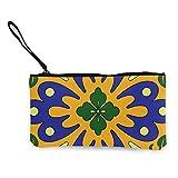 Sconosciuto Talavera - Portafoglio in tela con motivo a piastrelle, colore: arancione e blu