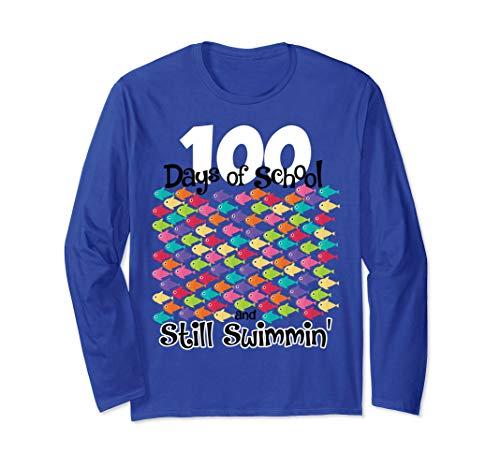 100th Day School T shirt Teacher Gift 100 Days Fish Swimming